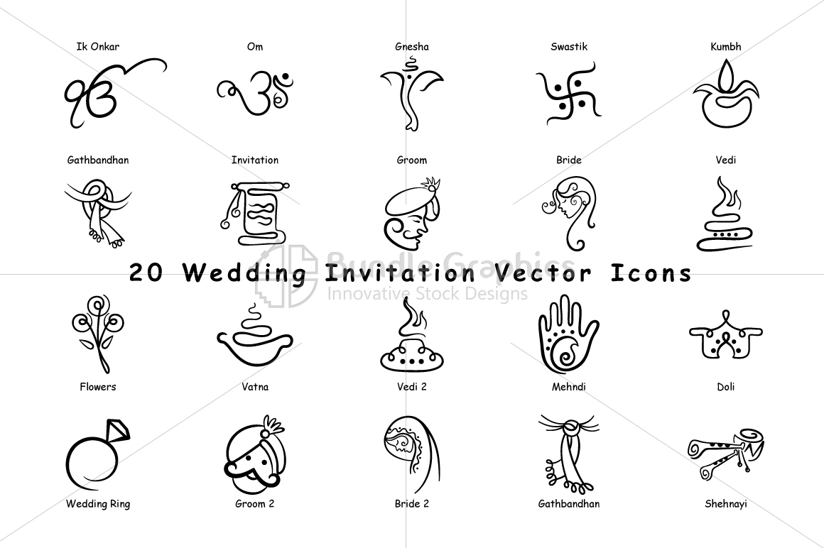 Indian Wedding Invitation Icons Vector Design Bundles