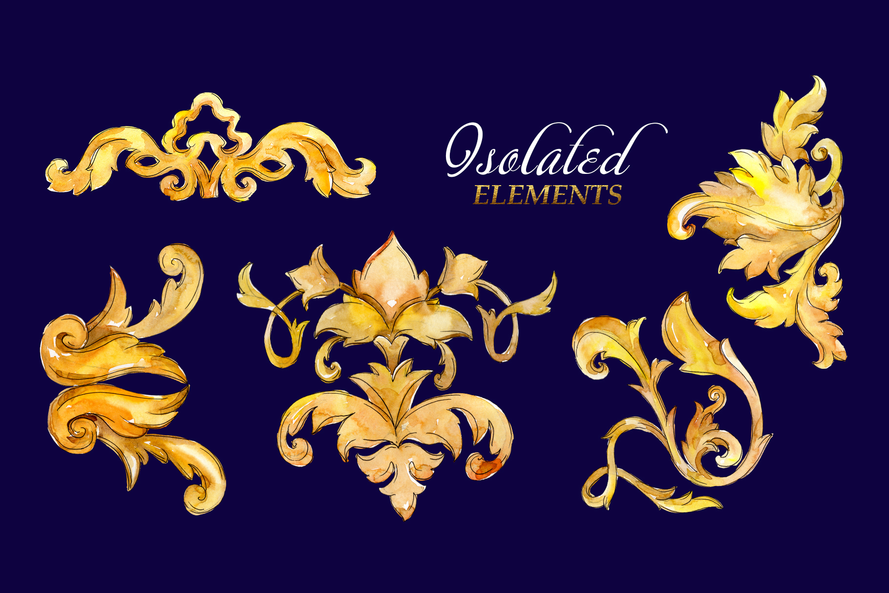 Luxury gold monograms. Fashion prints Watercolor png example image 8