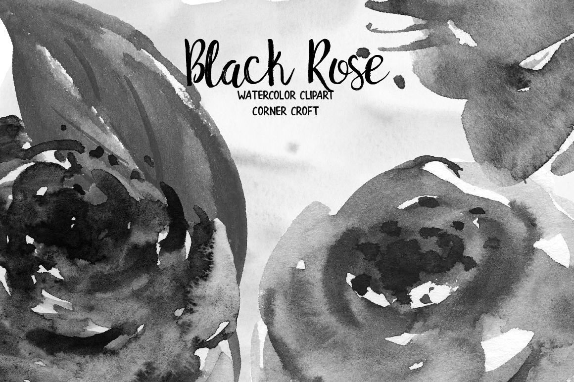 Watercolor Black Rose Clip Art example image 5
