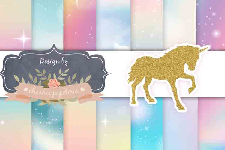 Unicorn sky glitter Digital Paper, Rainbow, Gold, Glitter example image 1