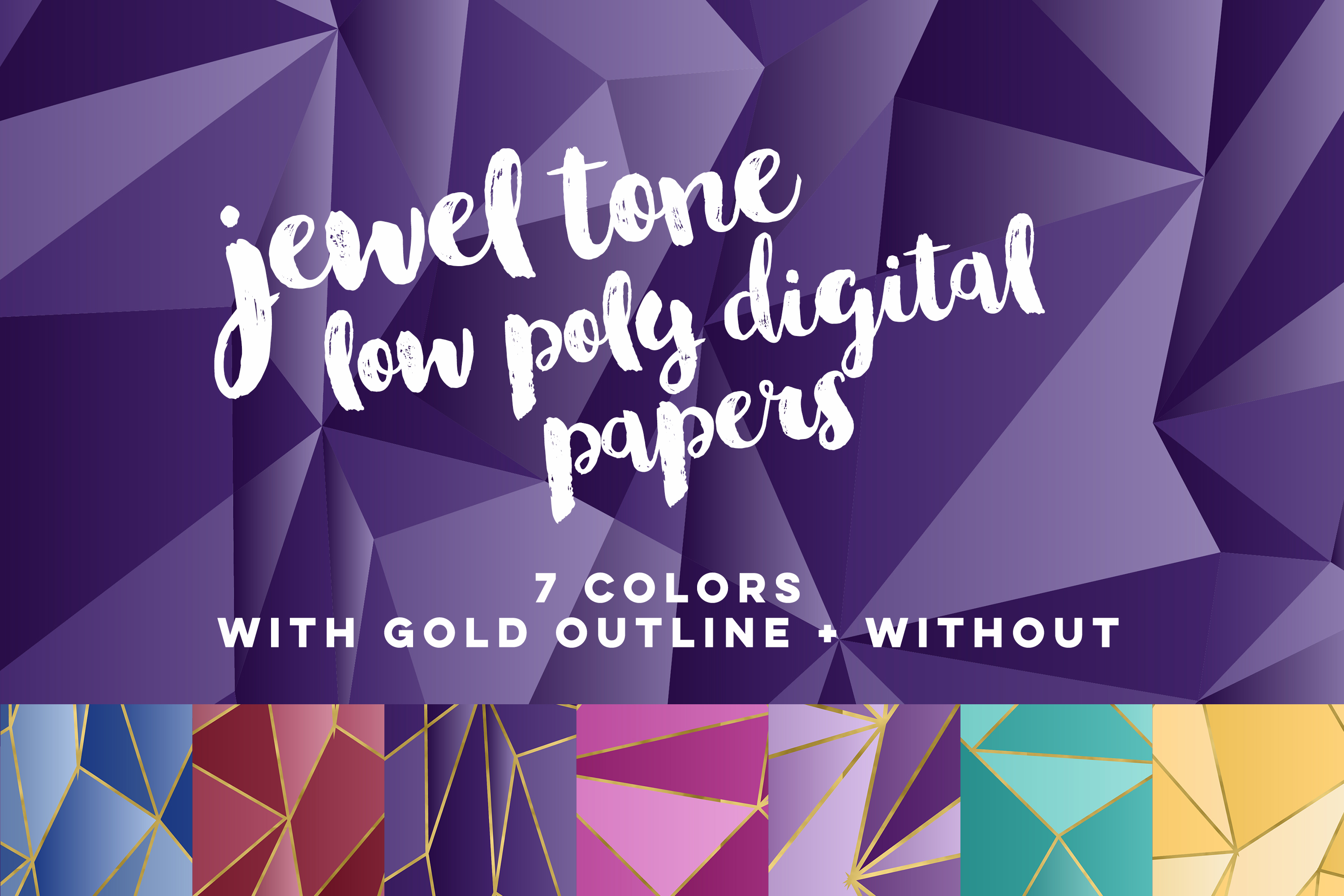 Jewel Tone Low Poly Digital Papers example image 1