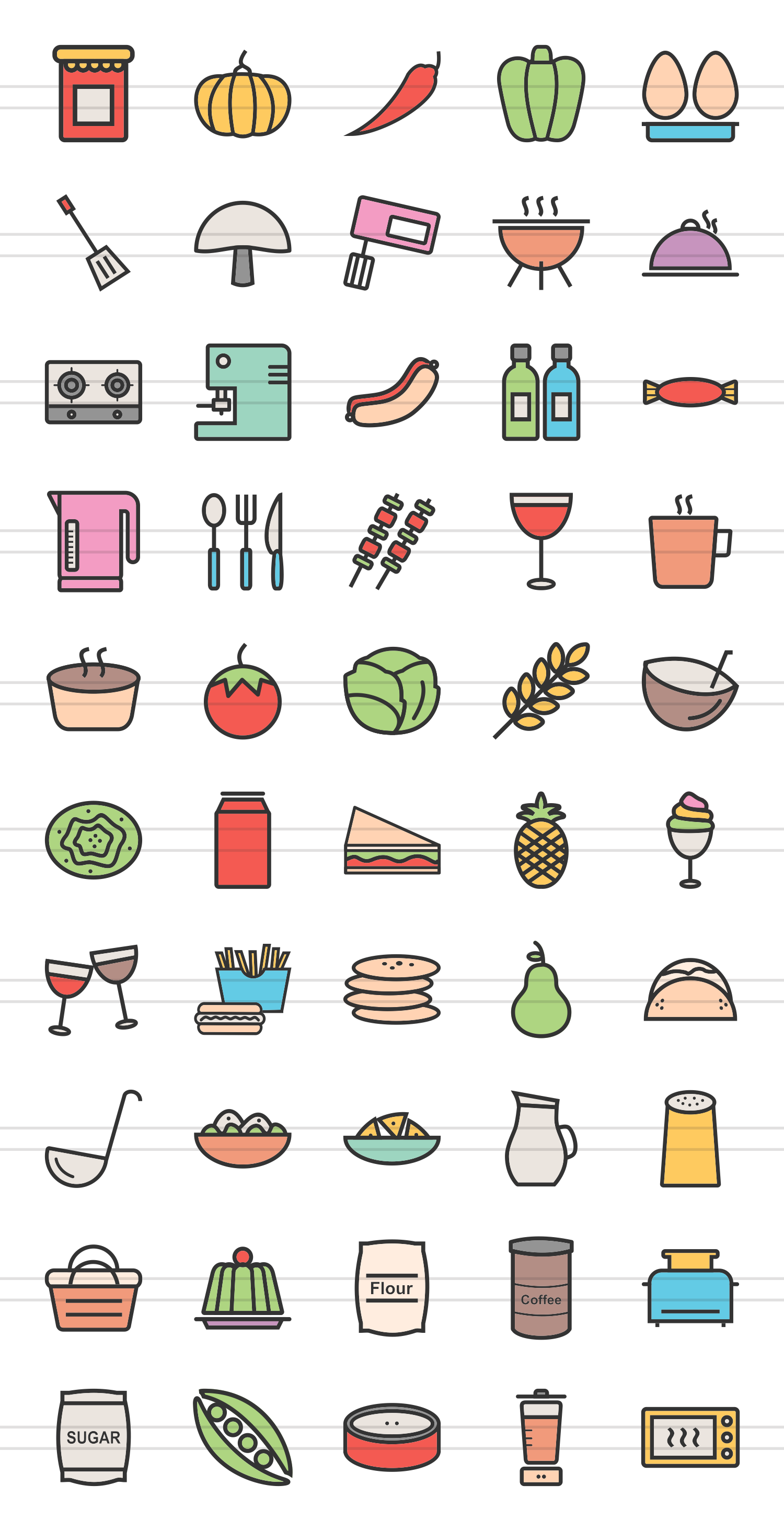 50 Food Linear Multicolor Icons example image 2