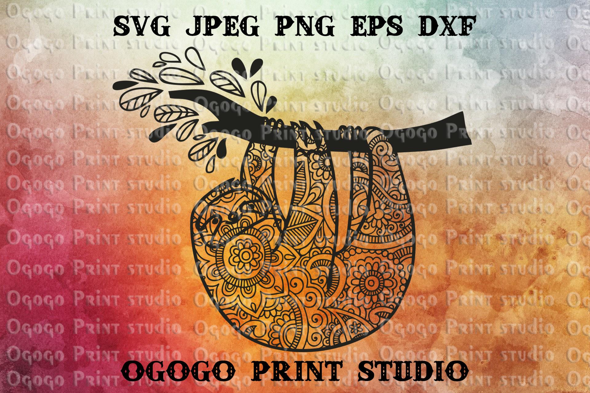 Mandala style Sloth SVG, Zentangle Svg, Animal svg example image 1