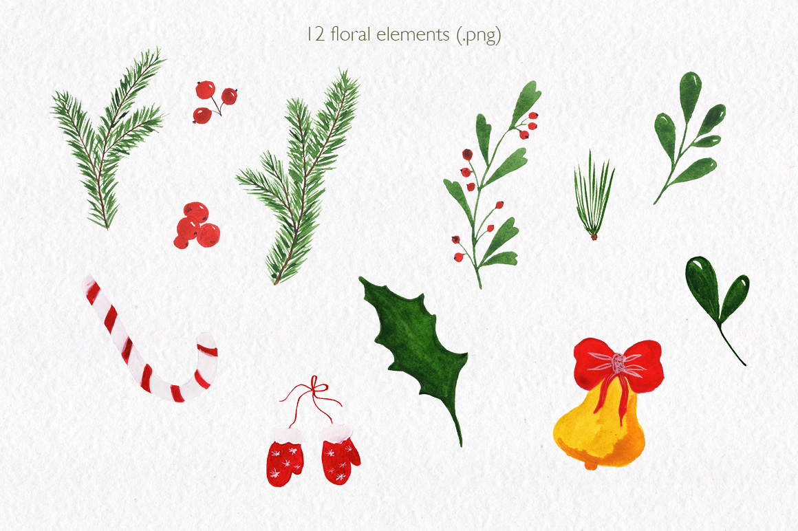 Christmas watercolor collection. Hand drawn illustrations. example image 4