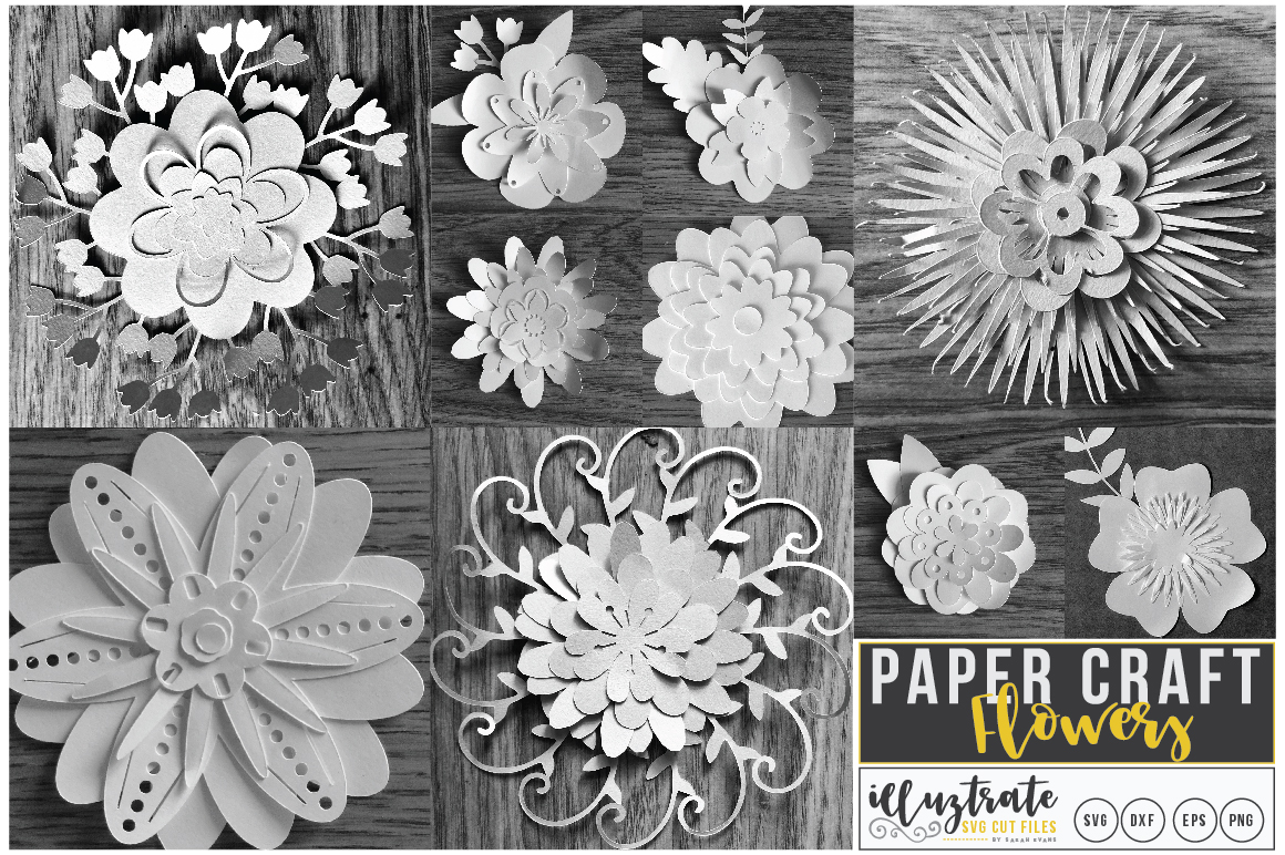 Paper Flower Template Bundle | Paper Cutting Bundle SVG example image 1