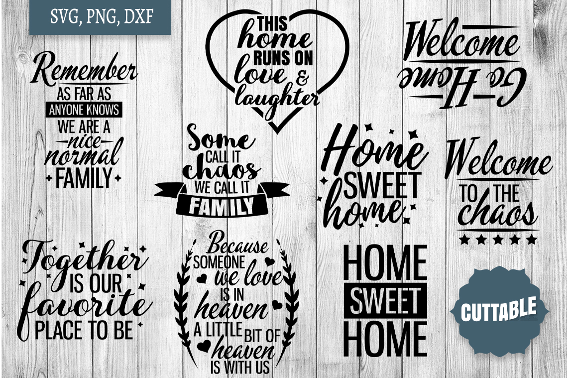 Home SVG bundle, Family quote cut file bundles, Home svgs example image 3