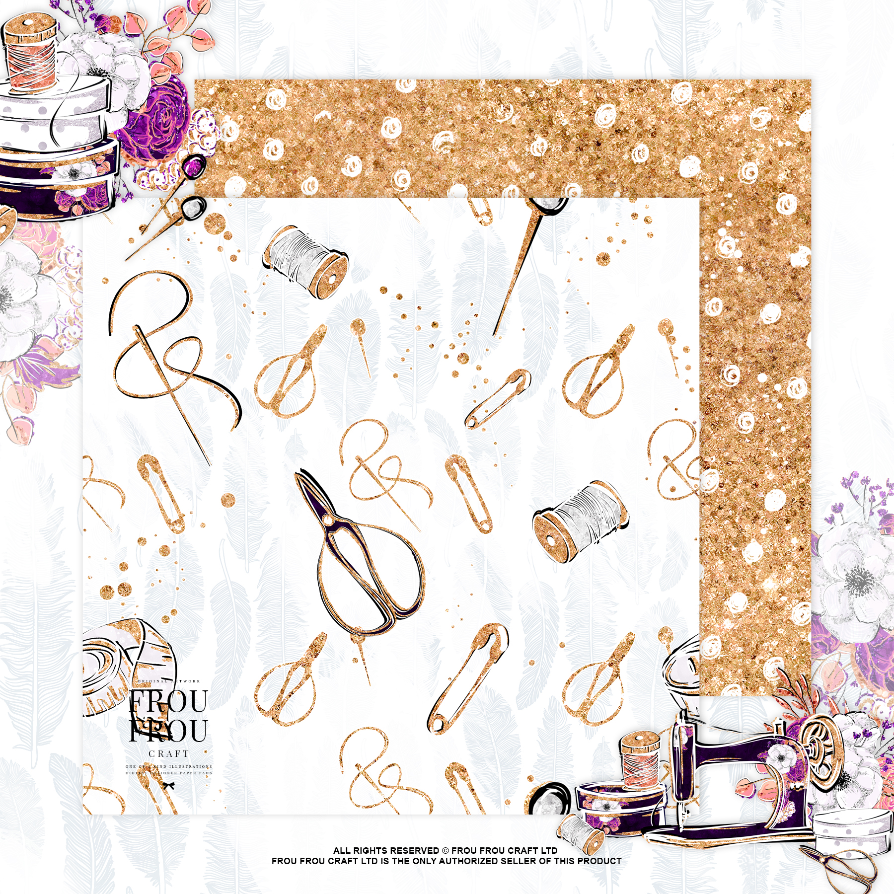 Fashion Designer Sewing Gold Glitter Paper Pack example image 5