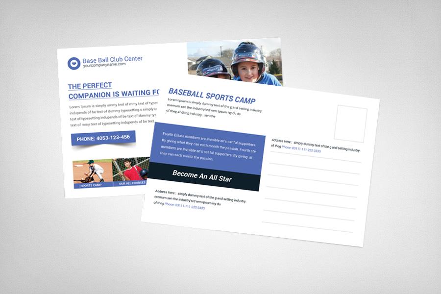Baseball Sports Camp Postcard Template example image 2
