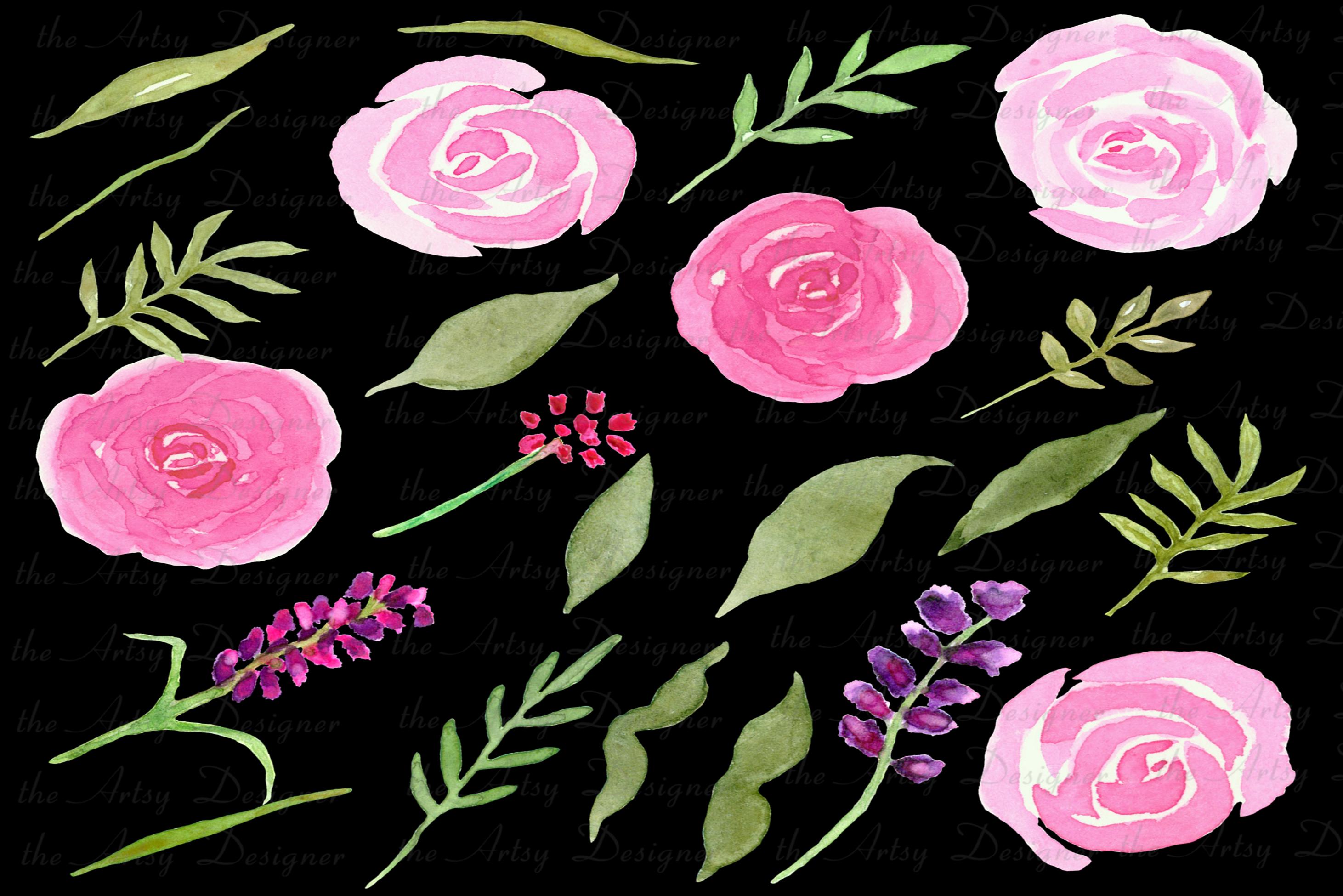 Watercolor Flowers Bundle Hand Painted Pink Purple Florals example image 4