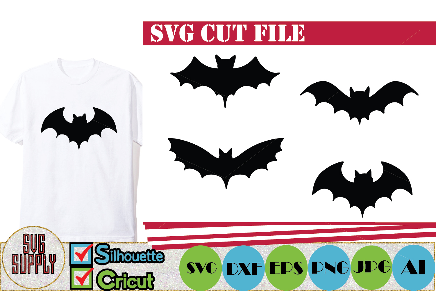Halloween Bats SVG Cut File example image 1