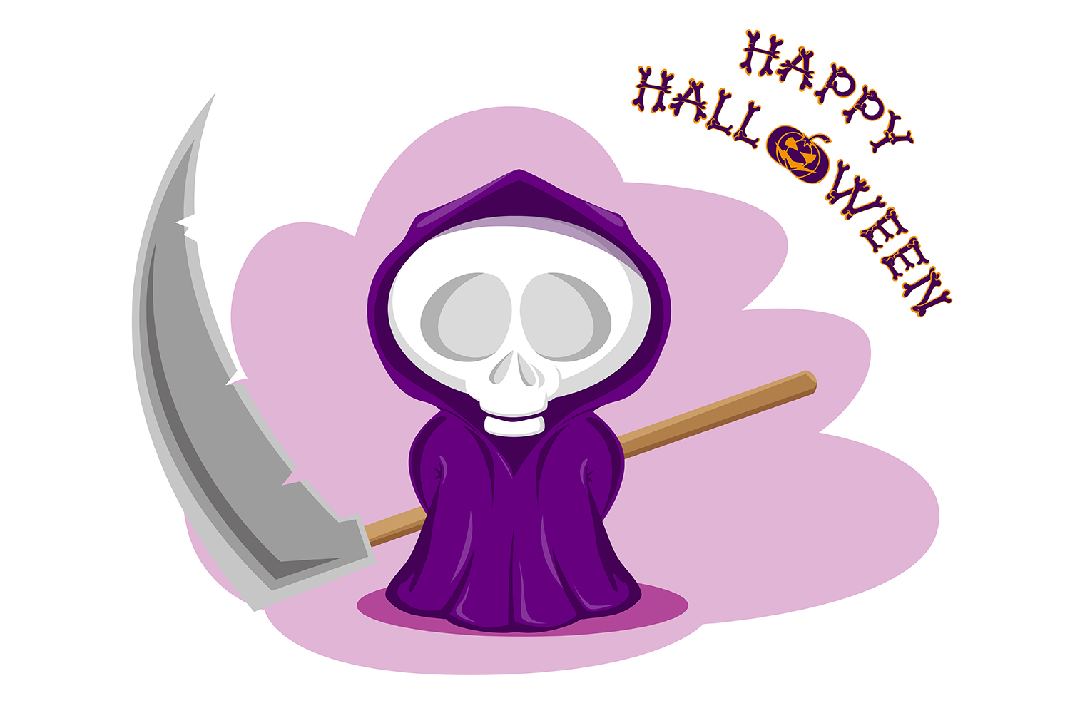 Set of 12 figure funny little death with large scythe and halloween pumpkin. Vector illustration example image 3