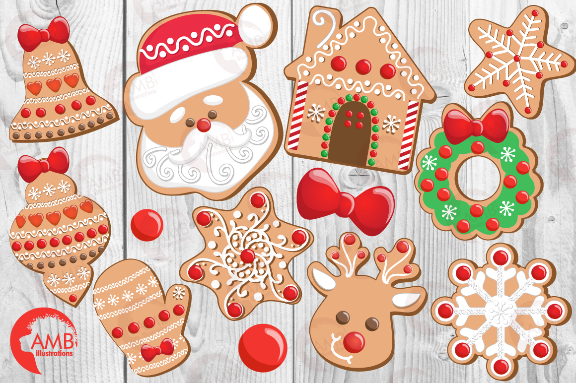 Christmas Cookie Clipart, GRAPHICS, ILLUSTRATIONS AMB-1539 example image 5