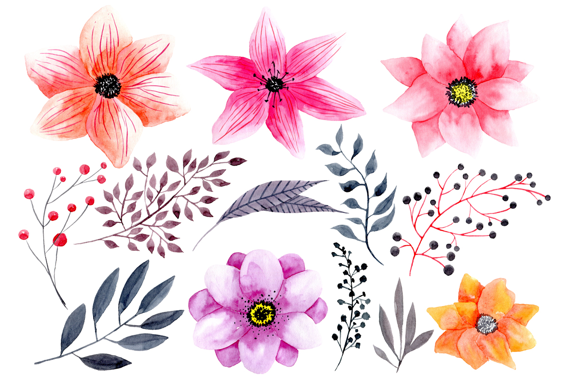 Watercolor png flowers example image 2