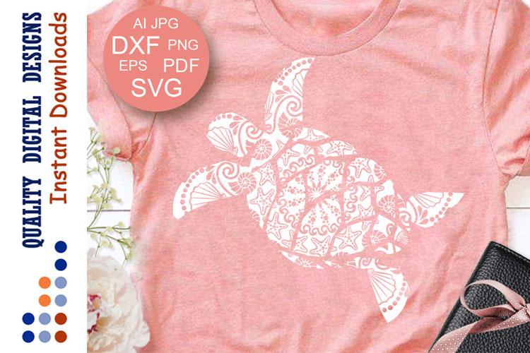 Zentangle Turtle SVG clipart Ocean Sea Turtle cut files example image 1