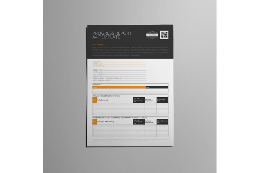 Progress Report A4 Template example image 3