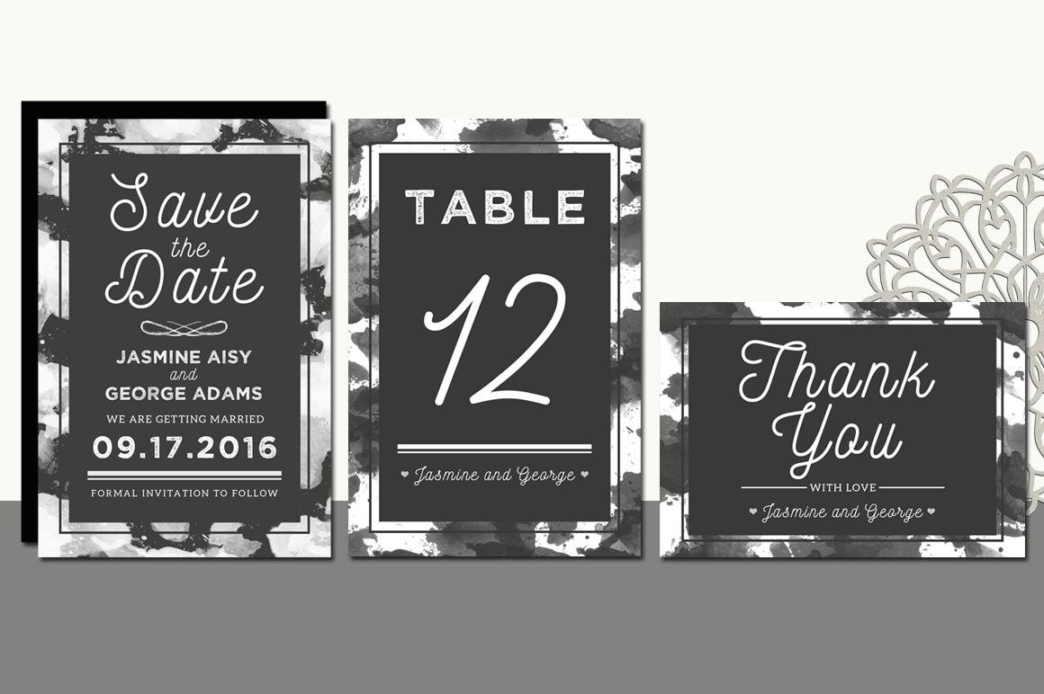 Monochrome Wedding Invitation Suite example image 4