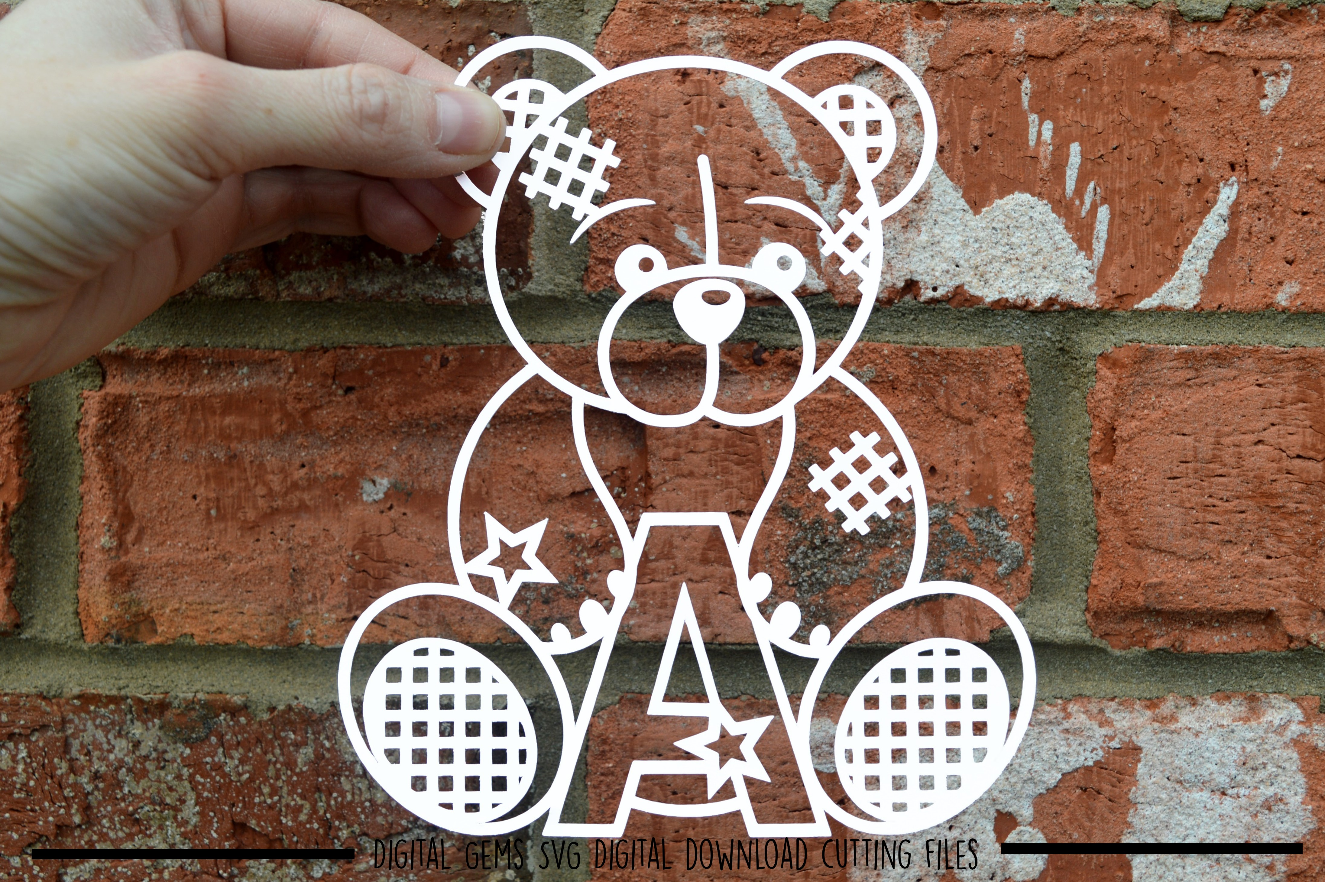 Alphabet teddy bear paper cuts SVG / DXF / EPS files example image 2