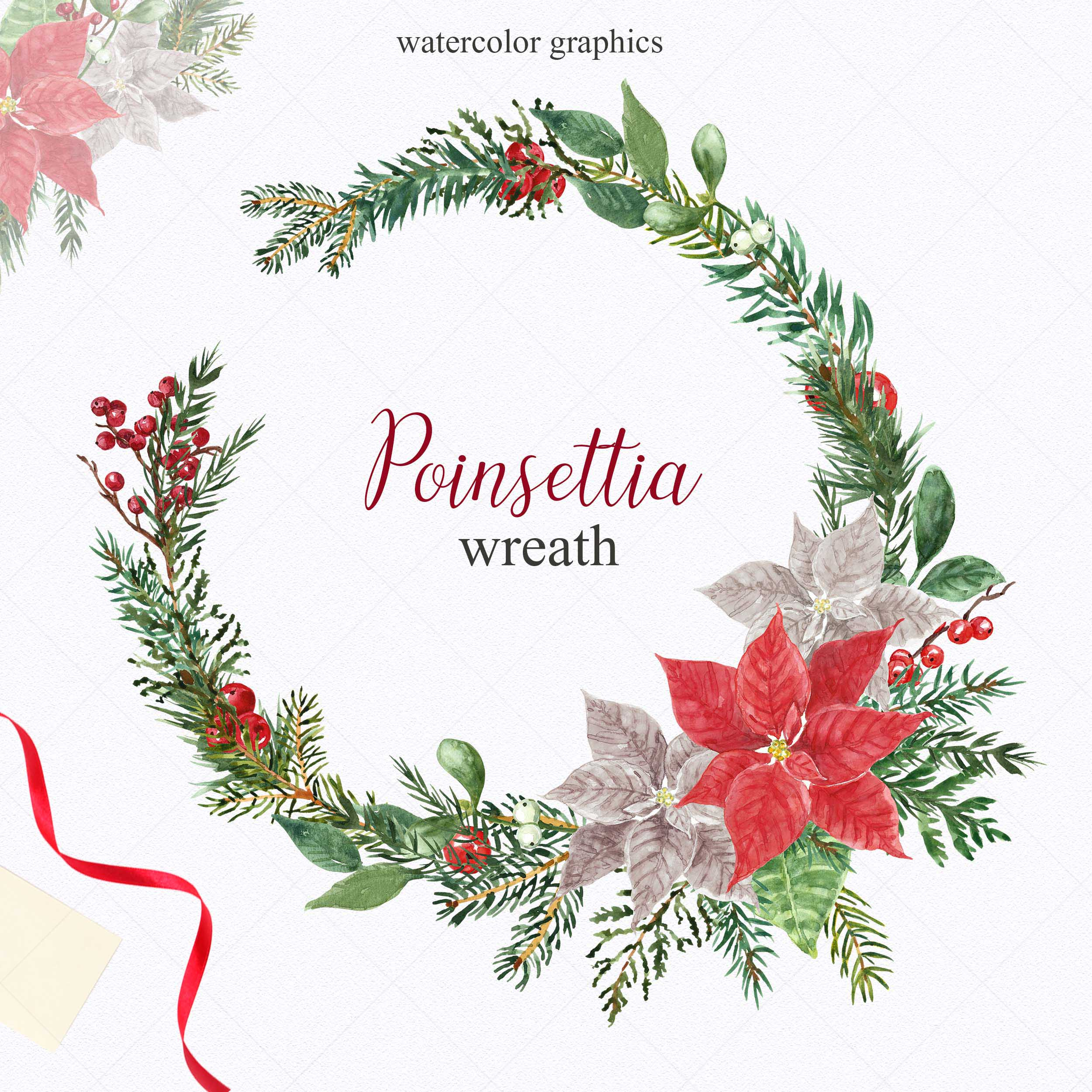 Watercolor Christmas Poinsettia Holiday Wreath Clipart example image 5