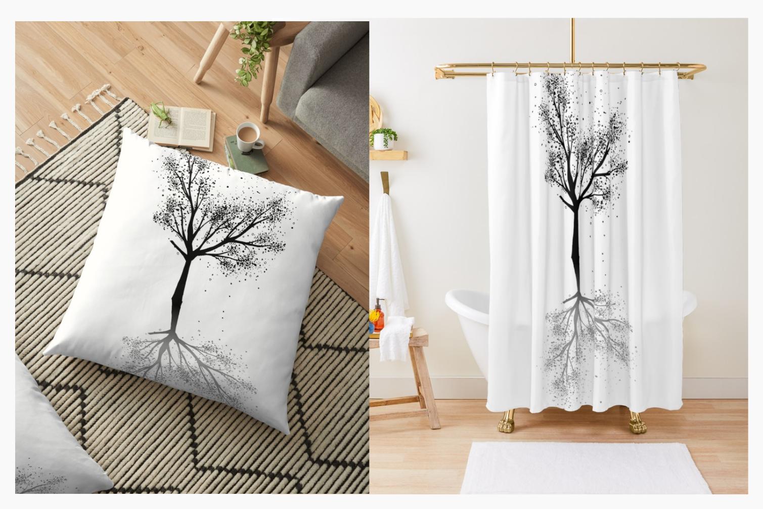 Black Tree Ink Art, A1, SVG example image 7