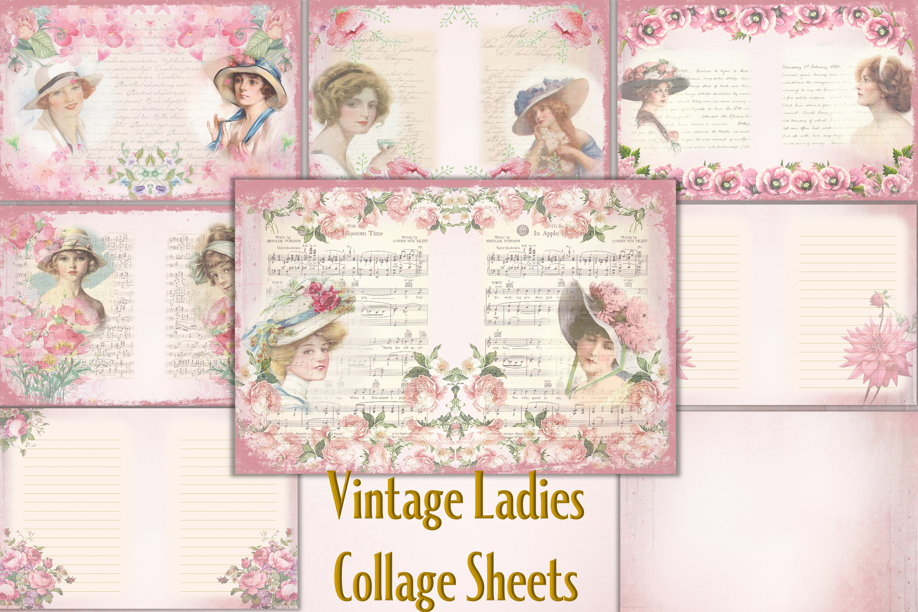 Vintage Ladies Backgrounds, Collage or Journal Sheets, A4 example image 1