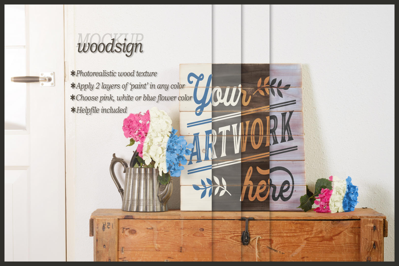 Woodsign pallet wood mockup - clean bright interior example image 1
