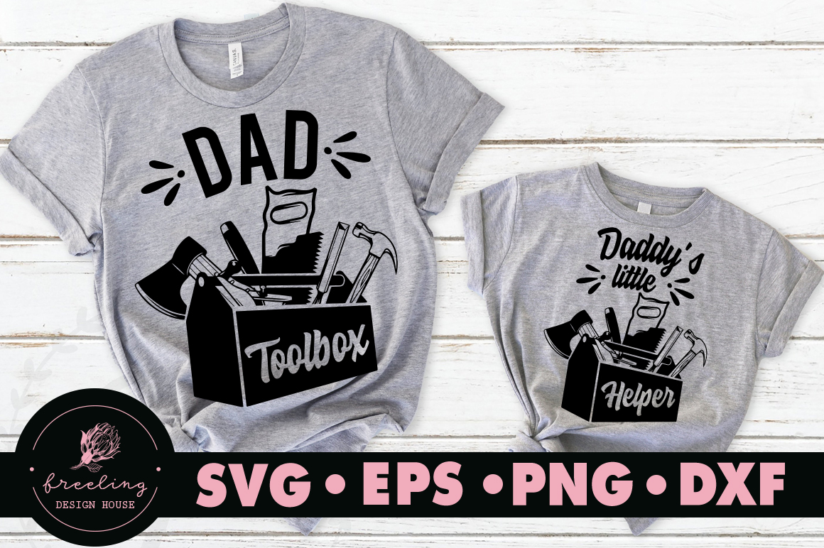 Father's day Dad toolbox Daddy's little helper SVG example image 1