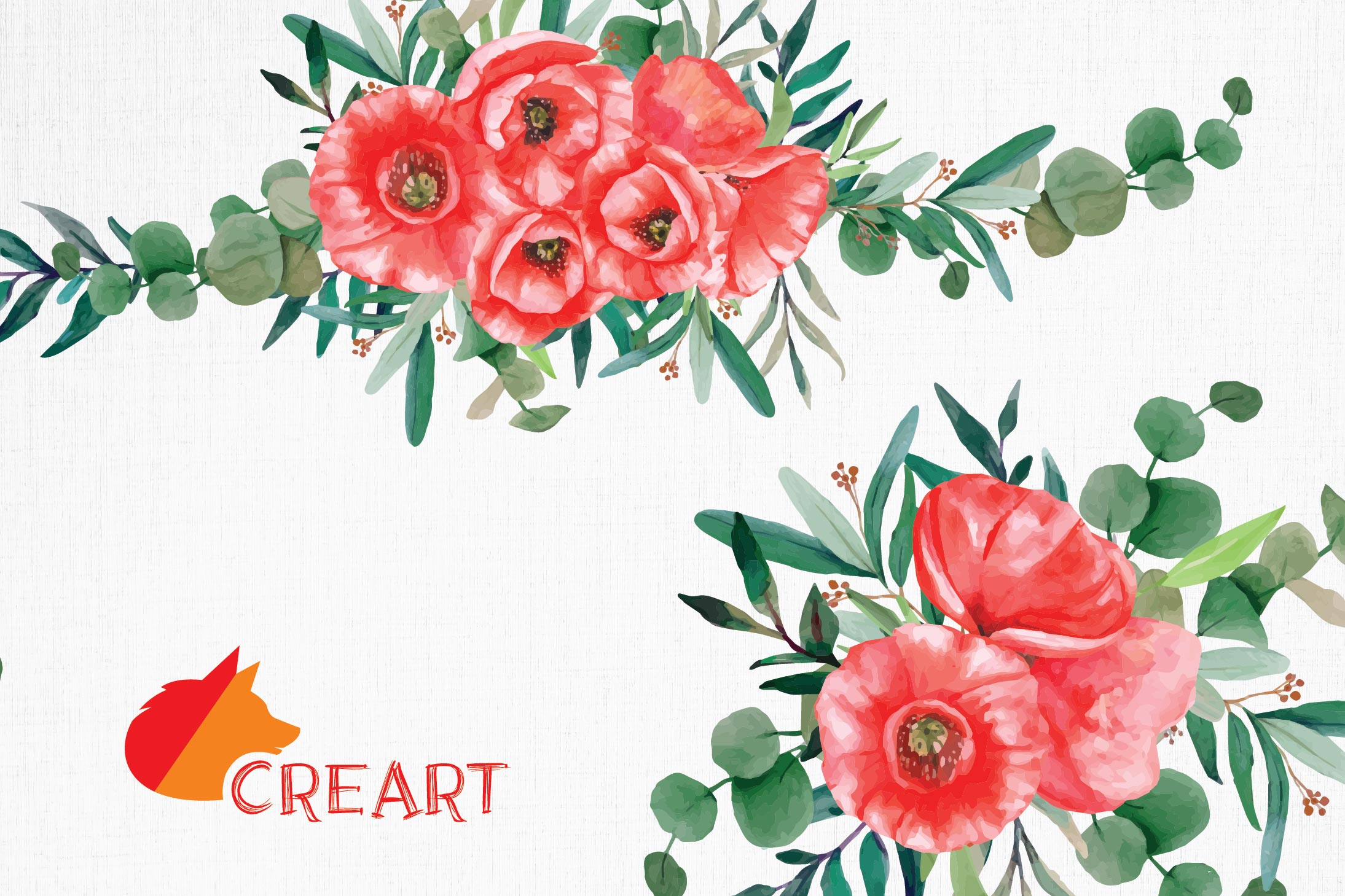 Red poppies floral watercolor wedding bouquets, floral decor example image 9