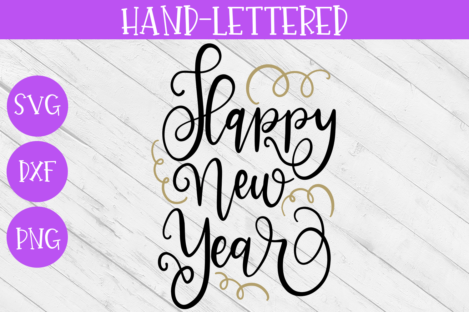 New Year SVG - Happy New Year Hand-Lettered Cut File example image 2