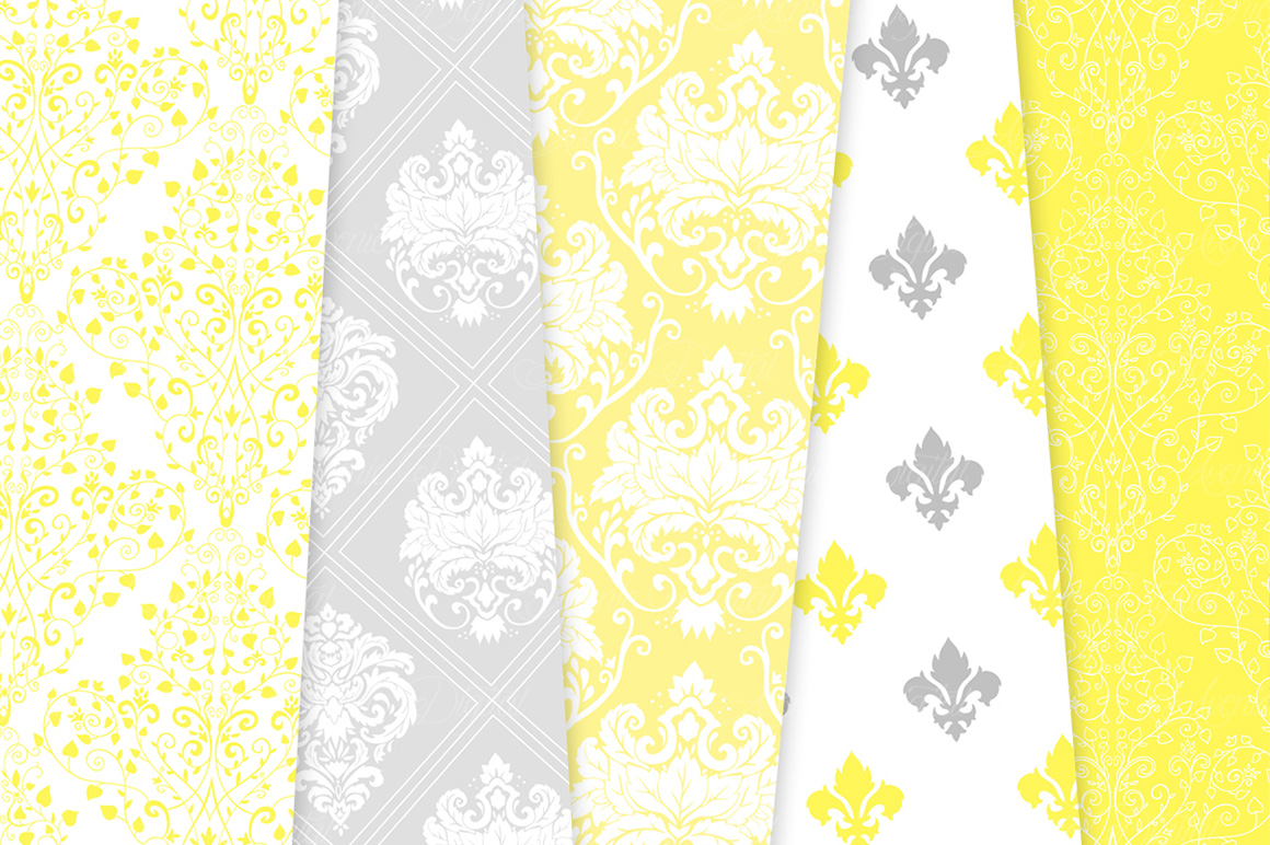 28 Yellow and Gray Damask Patterns - Seamless Digital Papers Bundle example image 5