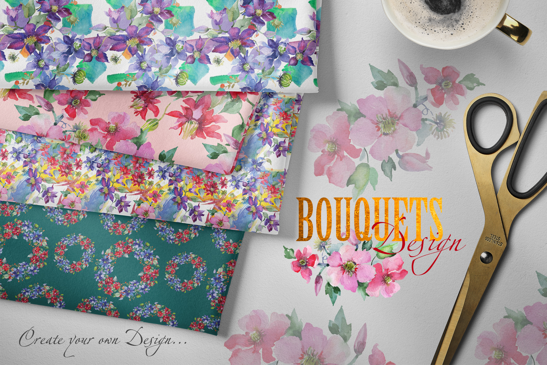 Bright Bouquets Watercolor png example image 3
