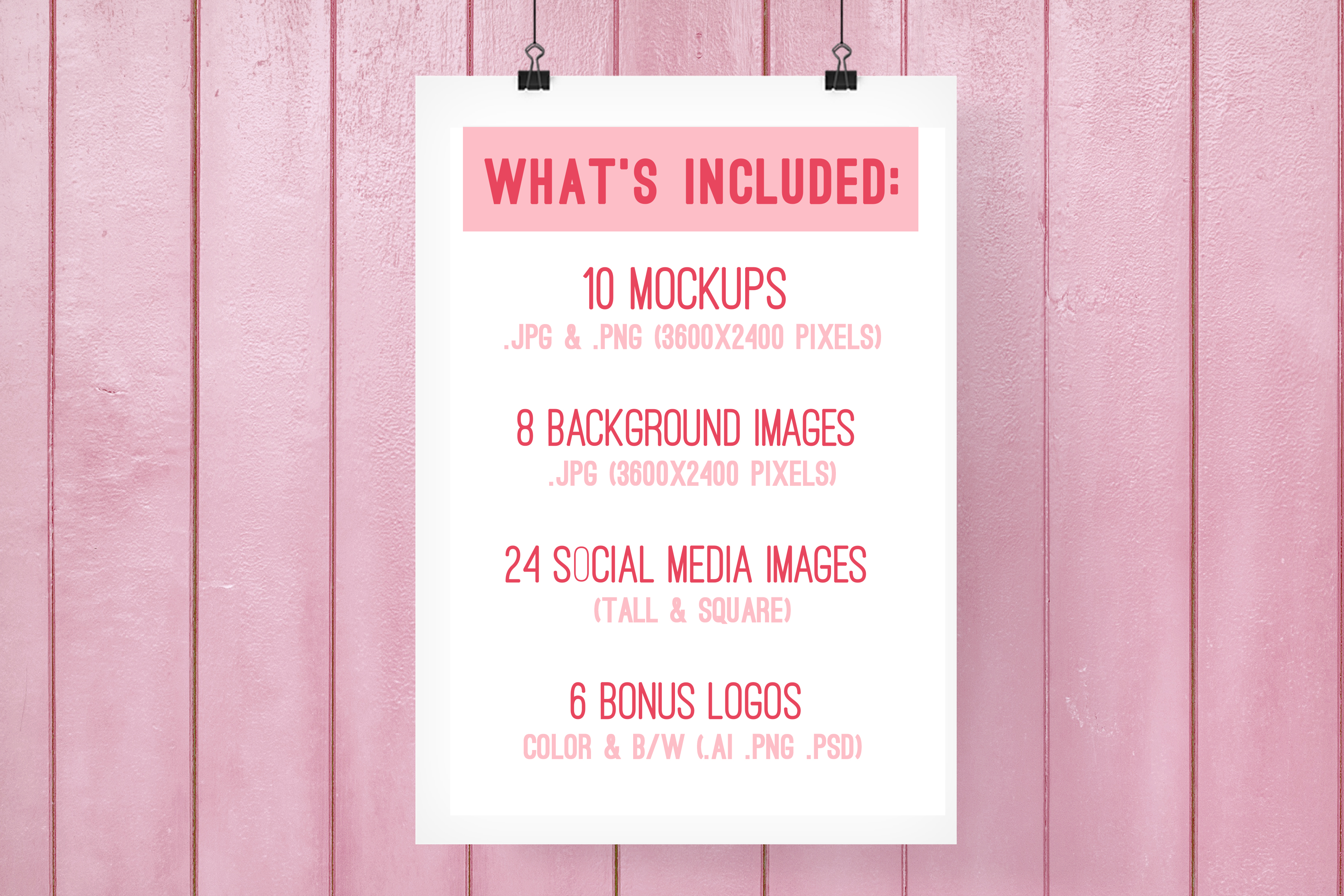 branding kit with pink backgrounds, pink mockups example image 6
