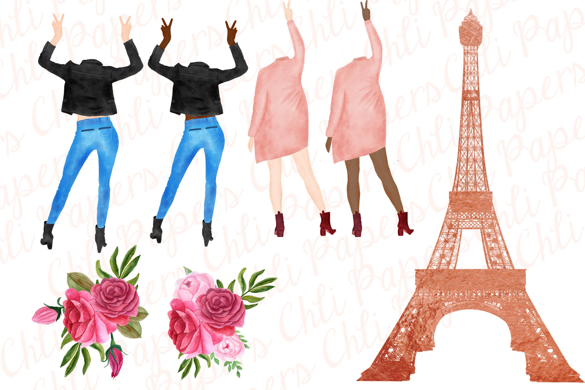 Best Friends Clipart, Paris clipart, Eiffel Tower clipart example image 3