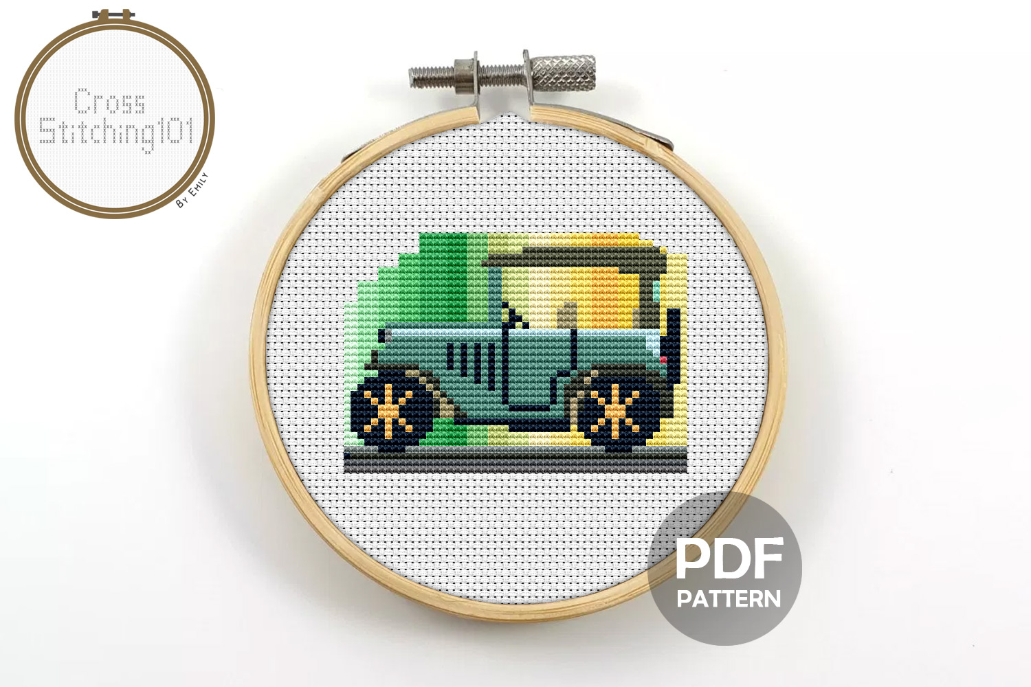 Antique Car Cross Stitch Pattern - Instant Download PDF example image 1