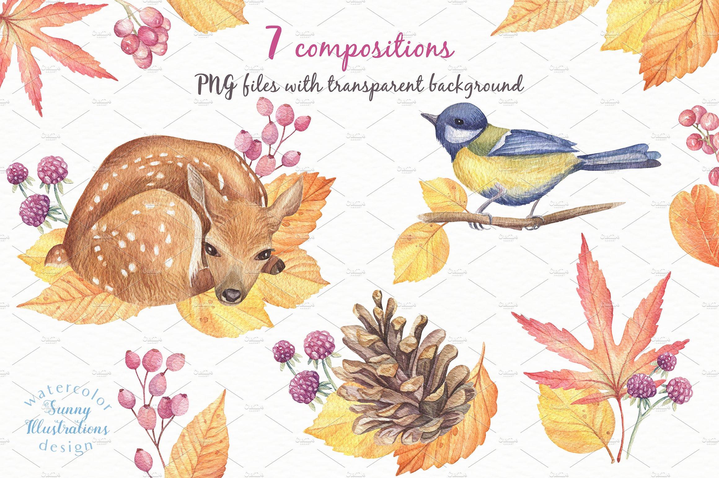 Happy Autumn - Watercolor Set example image 5