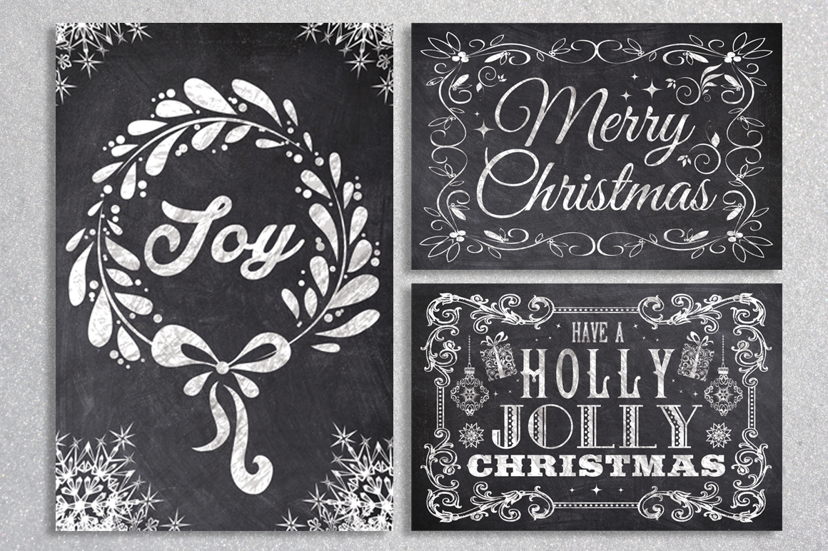 Chalk Christmas Card Bundle example image 2
