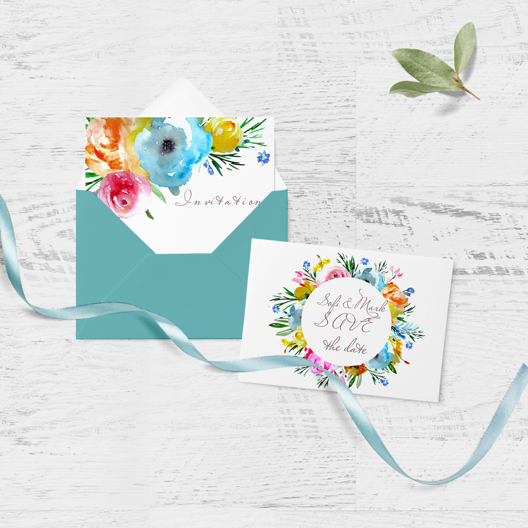 Brigt flowers watercolor clipart sprig floral desin cards example image 3