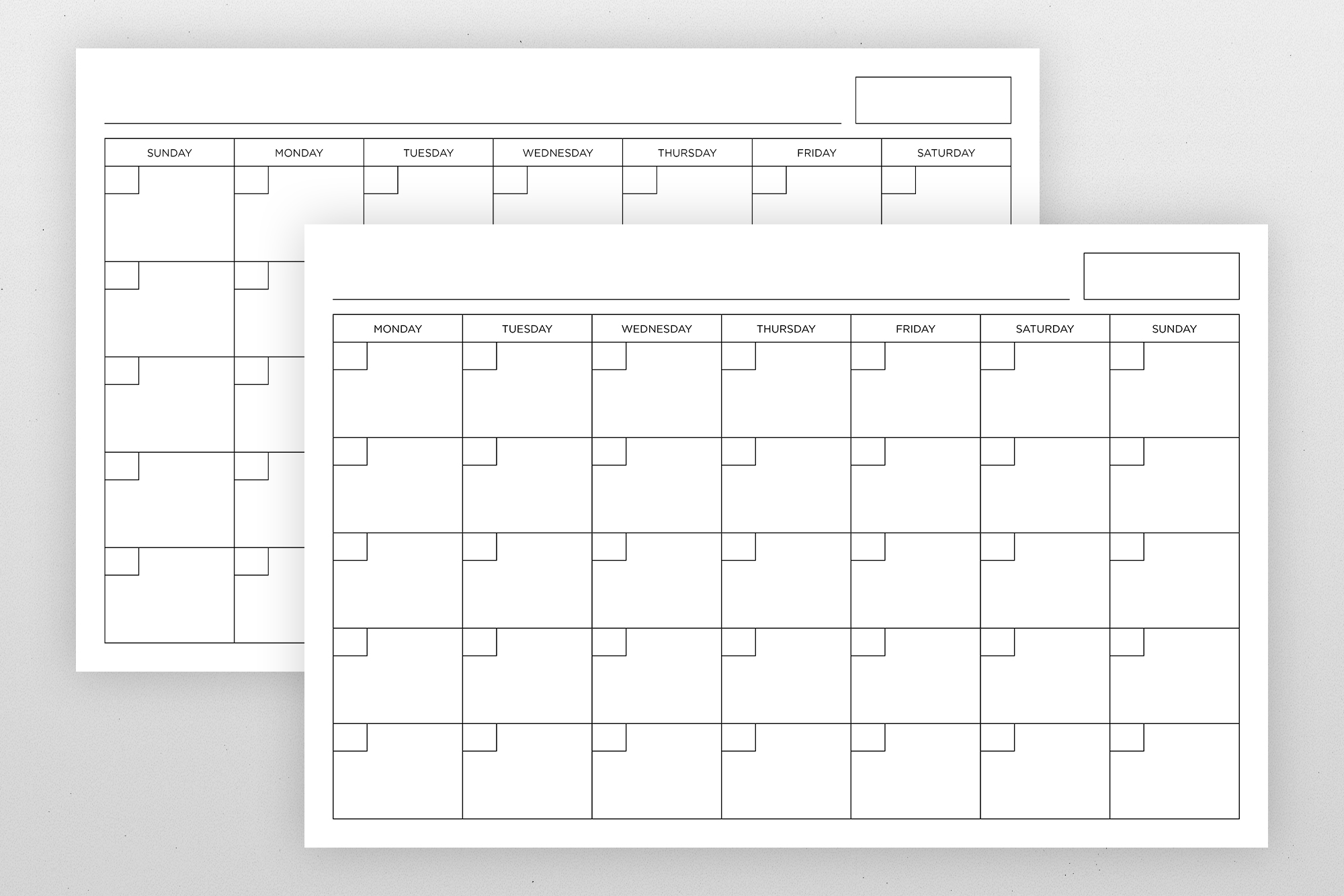 Blank Calendar Page Template Set example image 10