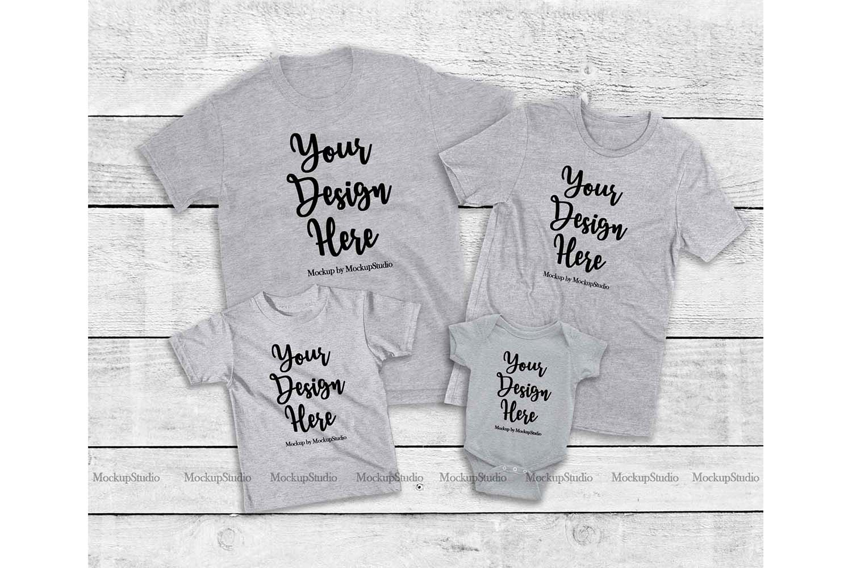 Family Tshirt Mockup Bundle, Kids Shirt Mock Up Bundle Set example image 2