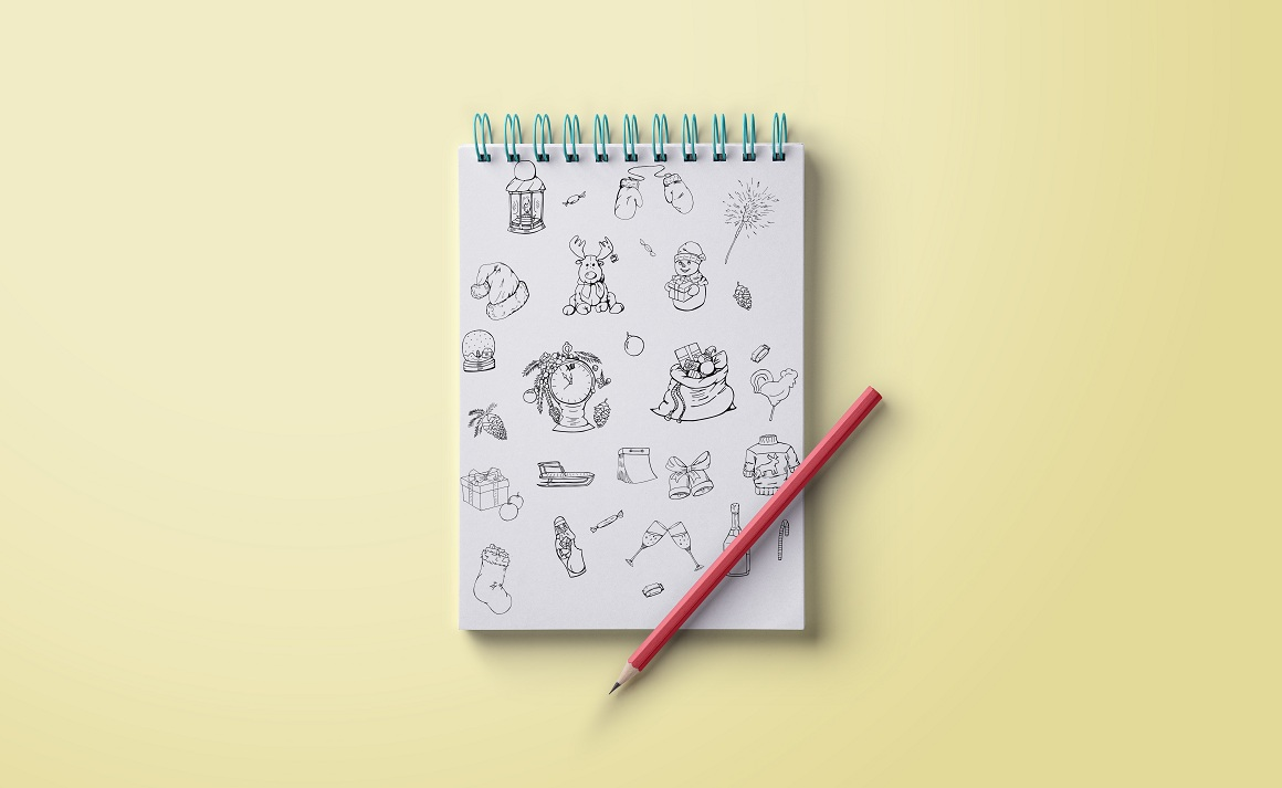 Christmas doodle set + patterns example image 3