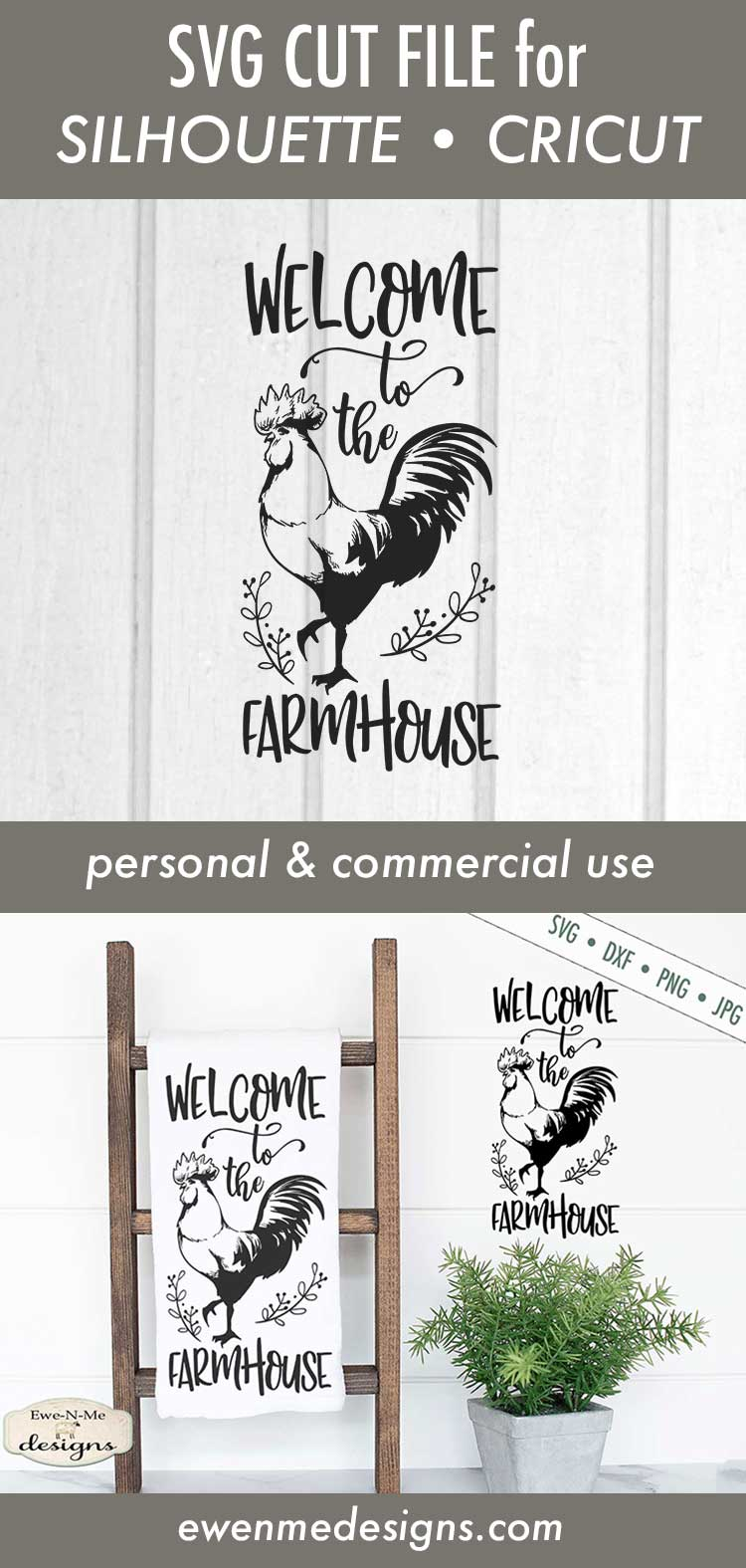Welcome to the Farmhouse - Rooster - SVG DXF File example image 3