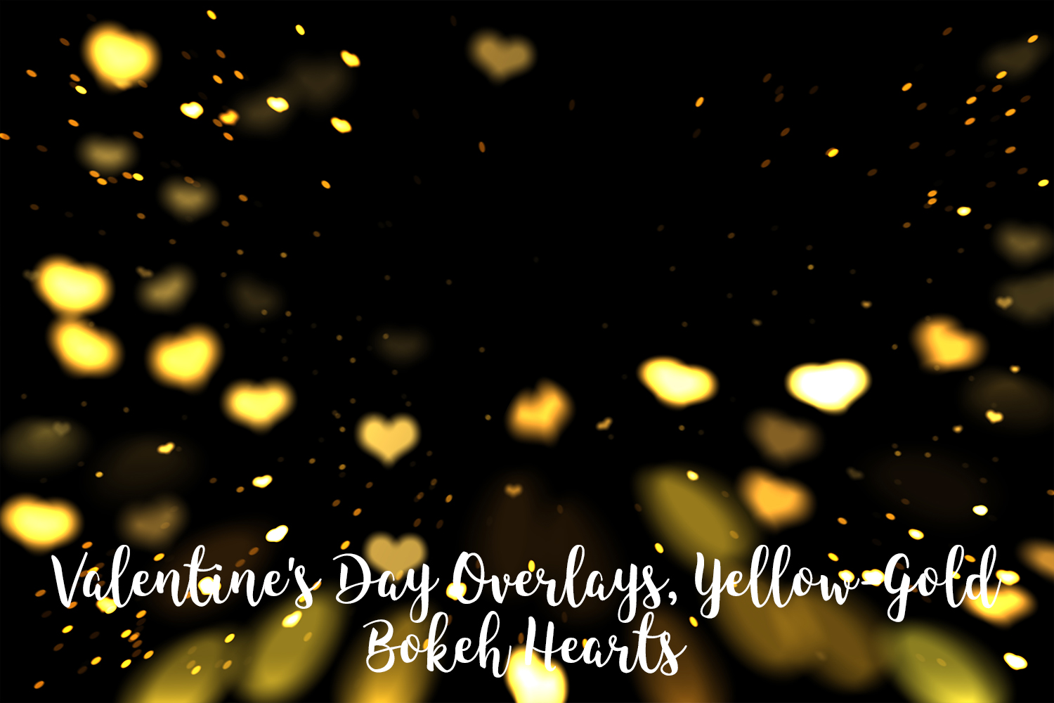 Valentine's Day Overlays, Yellow Gold Hearts Bokeh Overlays example image 8