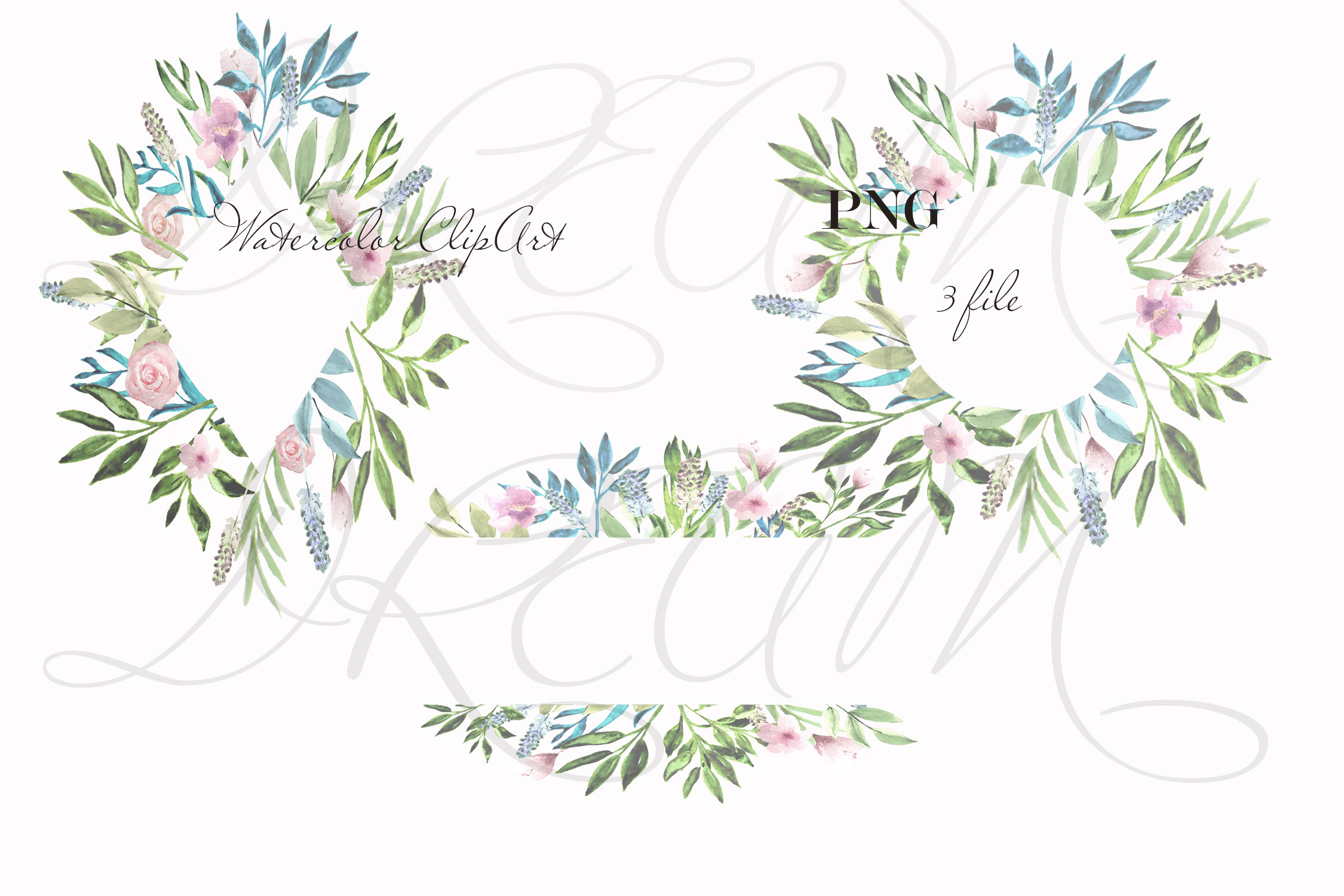 Watercolor greenery clipart example image 2