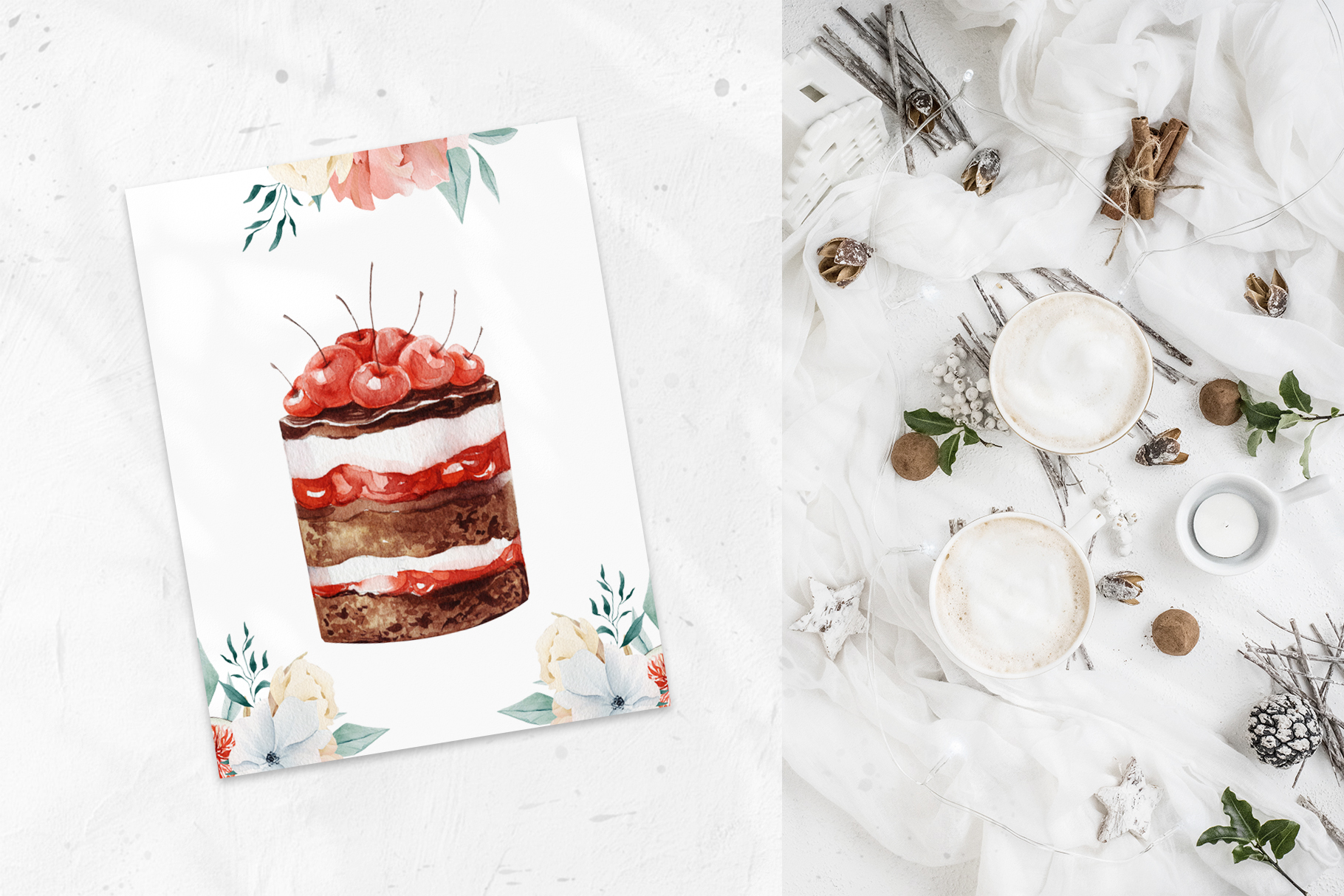 Christmas watercolor desserts example image 7