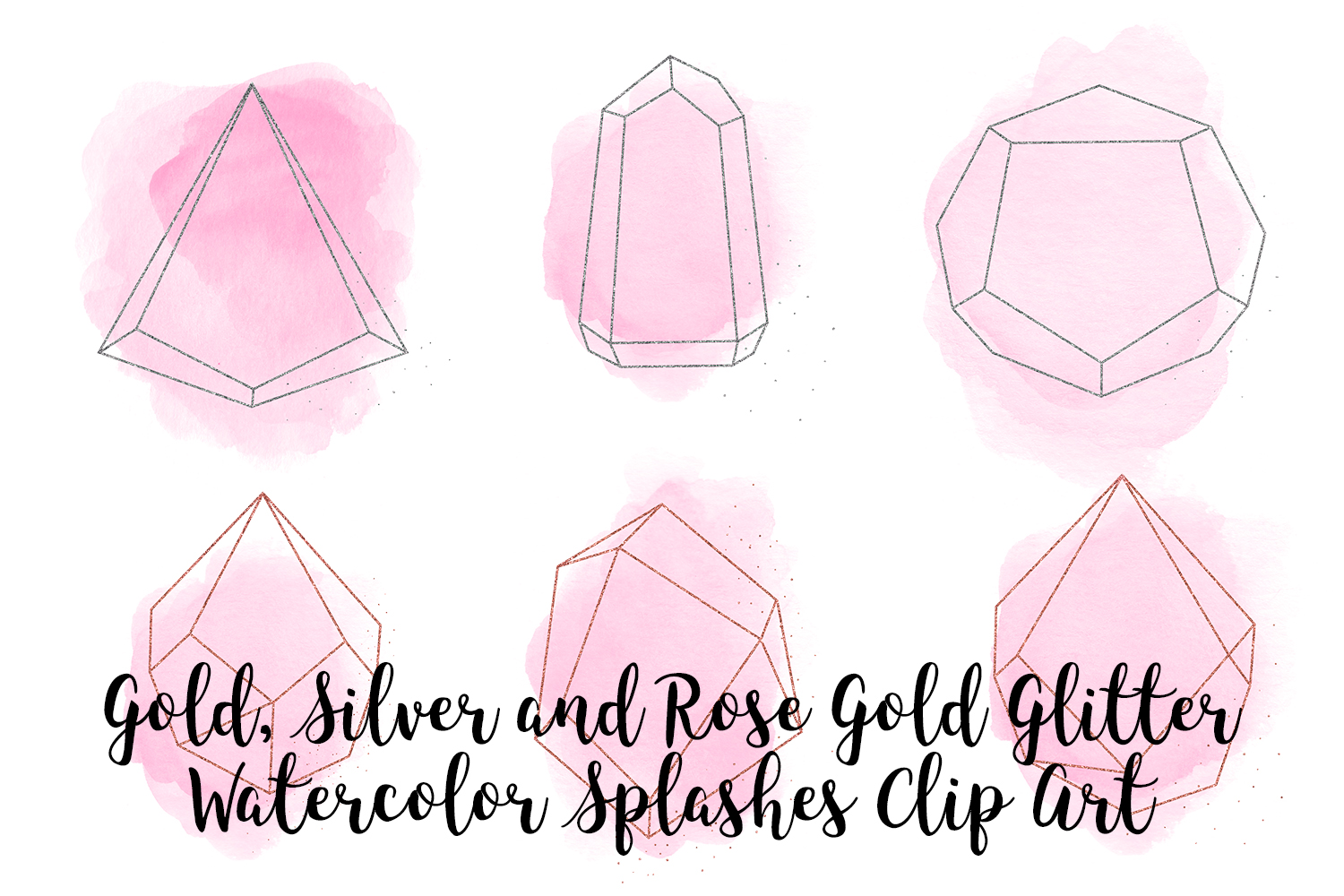 Gold, Silver and Rose Gold Crystals with Pink Watercolor example image 3