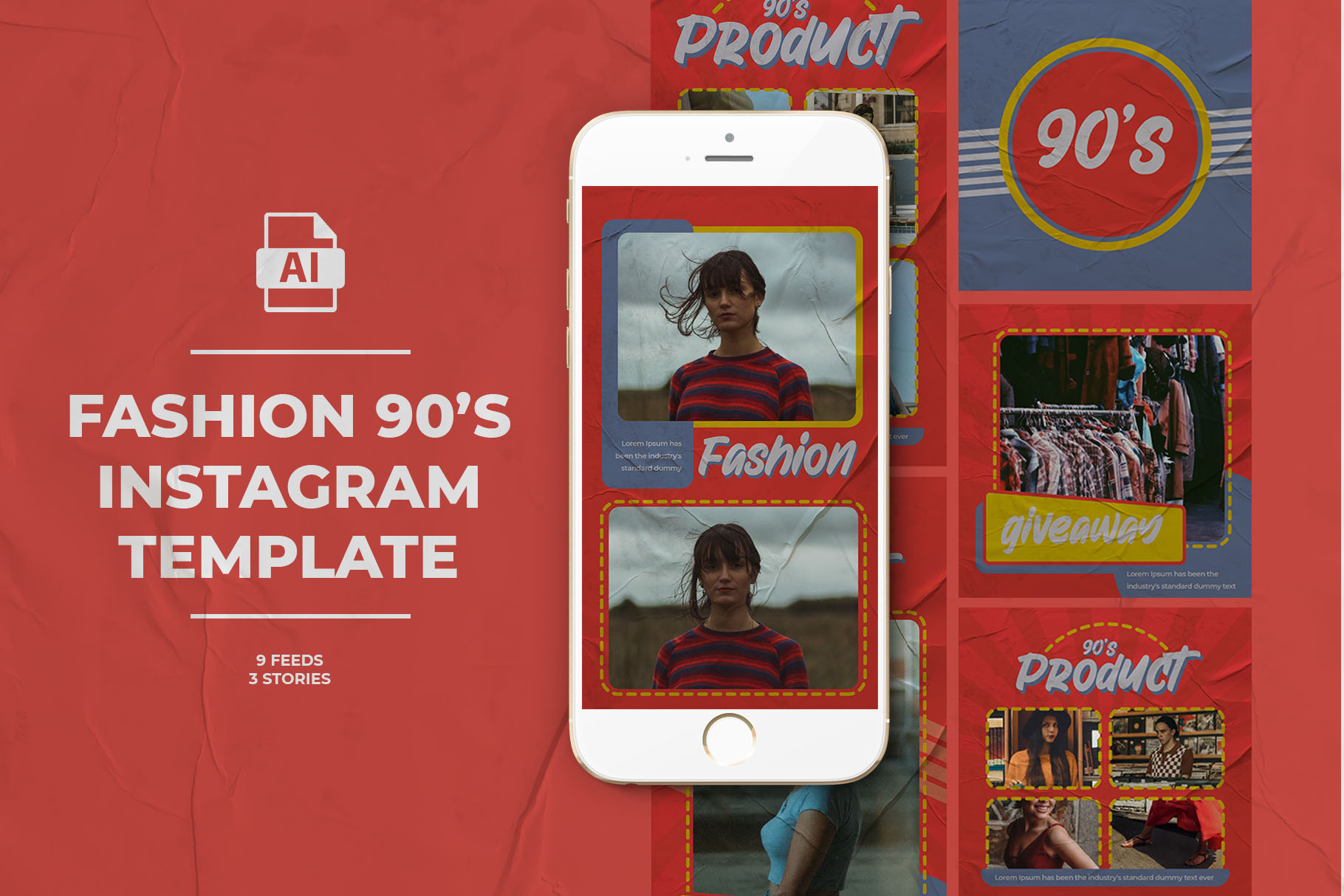 Fashion 90's Instagram Templates example image 1