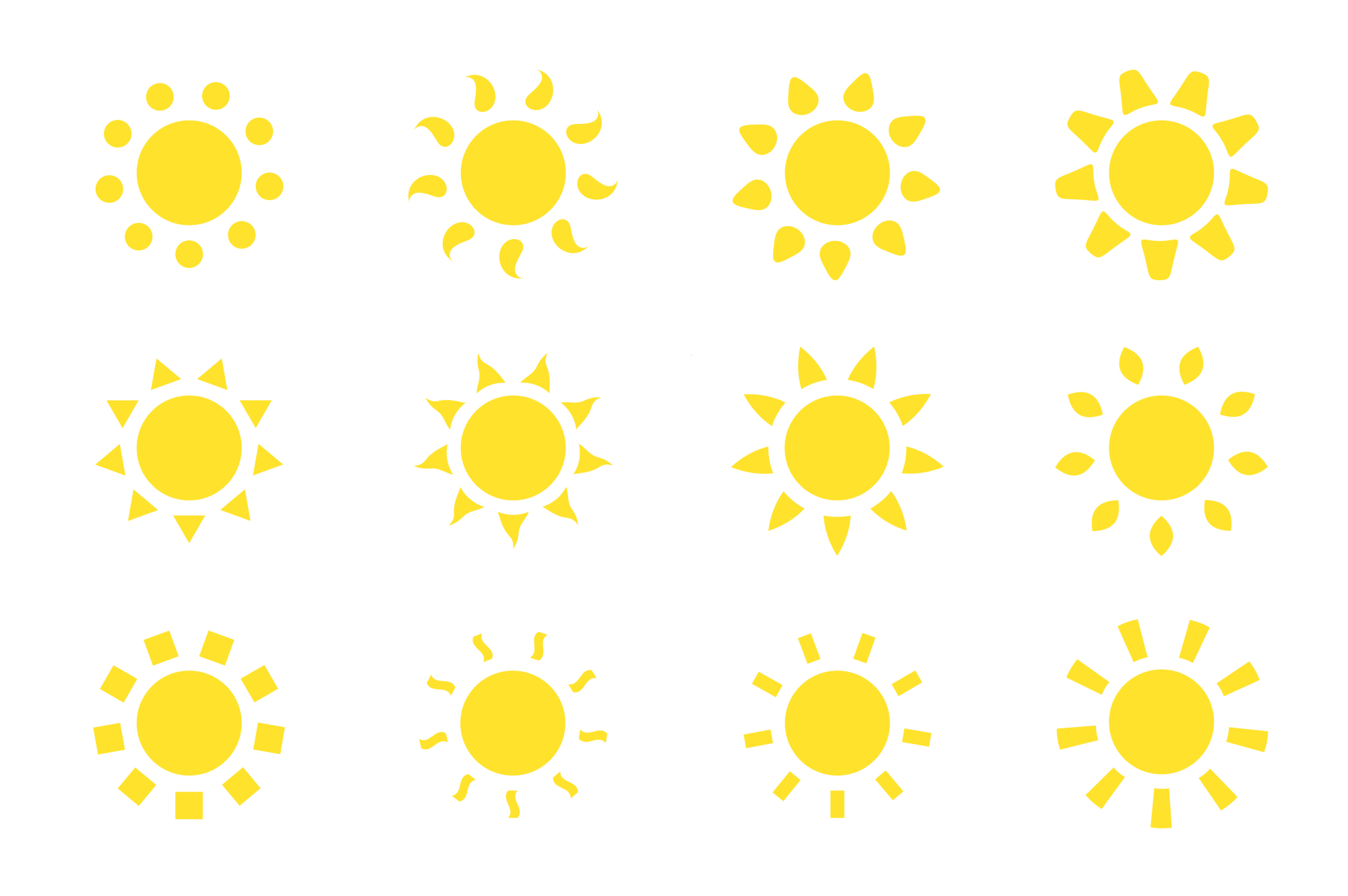 Vector sun icons set. example image 1