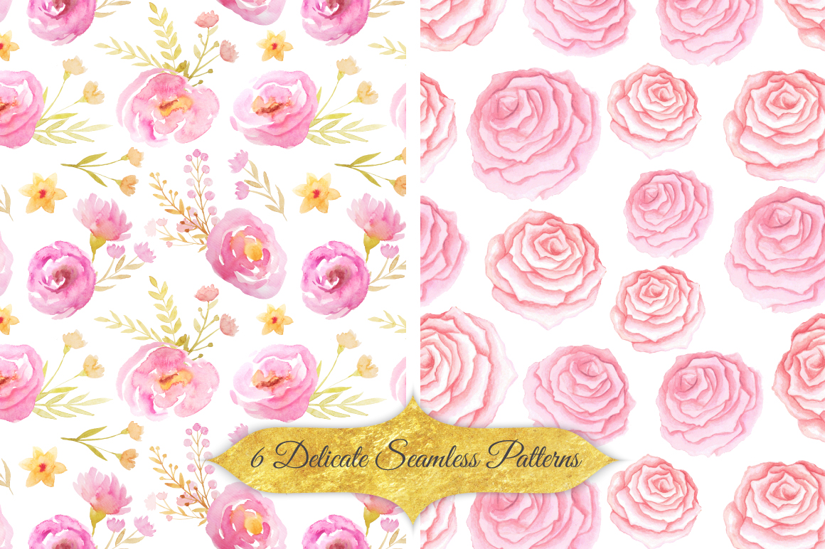 Watercolor Floral Patterns Vol.1 example image 2