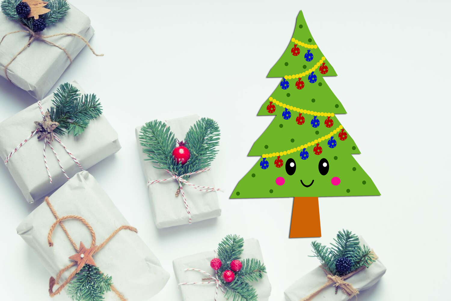 Cute Kawaii Christmas Trees Clipart- Xmas Trees Clipart example image 6