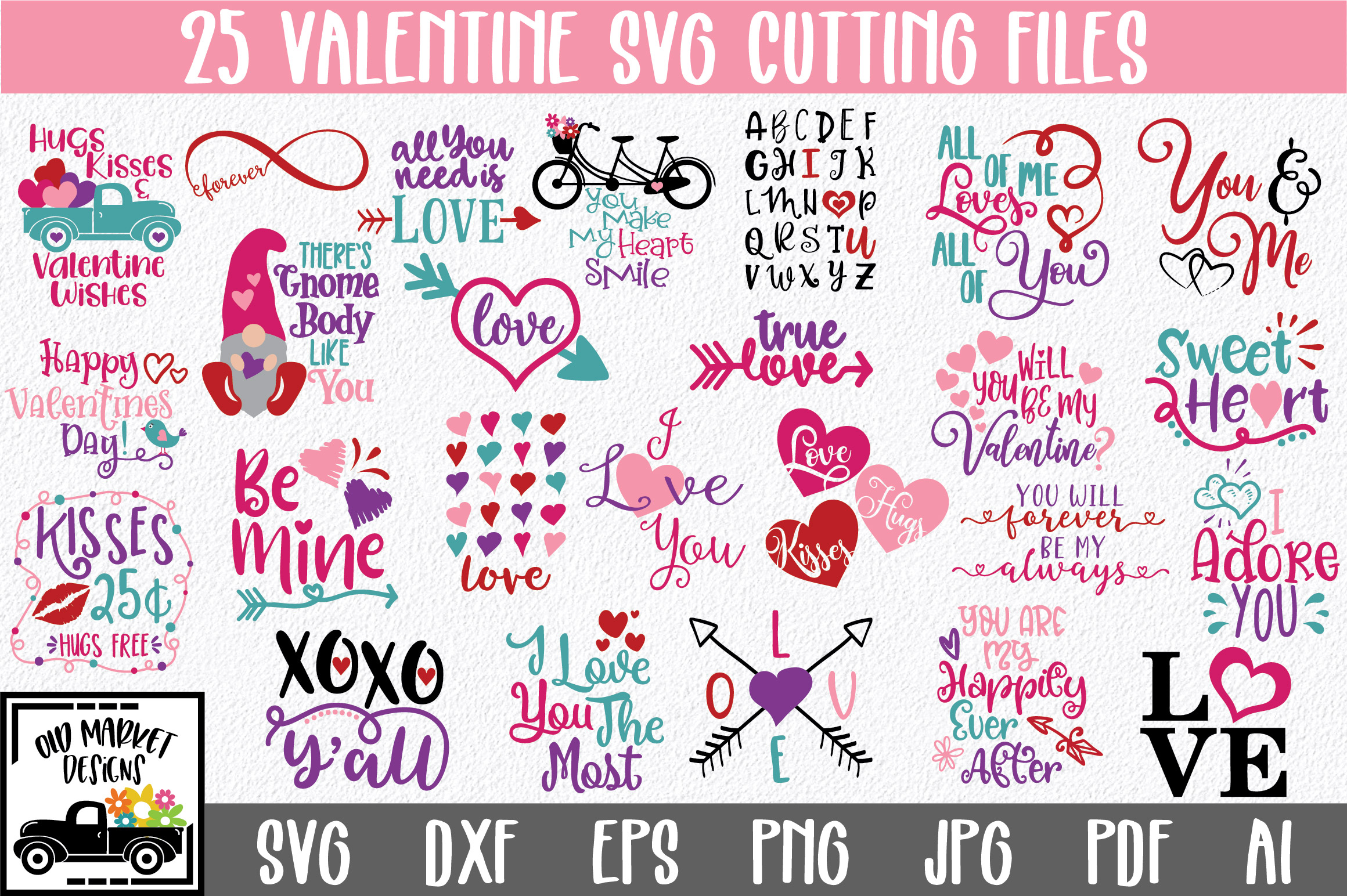 Valentine SVG Bundle with 25 SVG Cut Files DXF EPS PNG example image 1