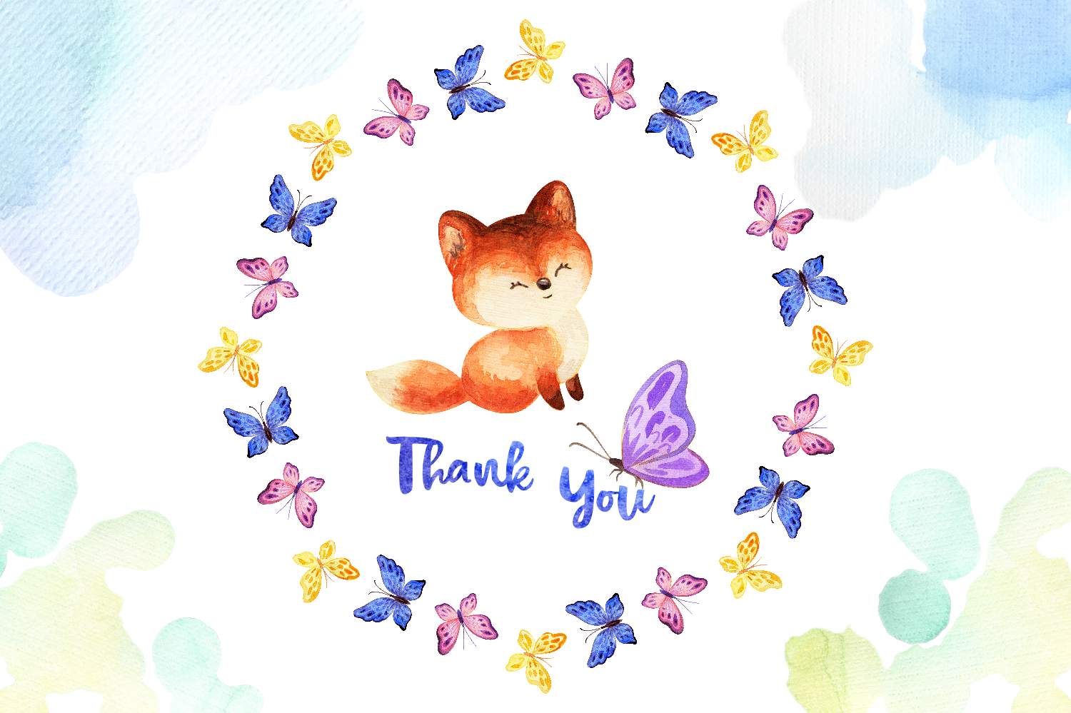 Mom's tenderness. Watercolor foxes and butterflies example image 6